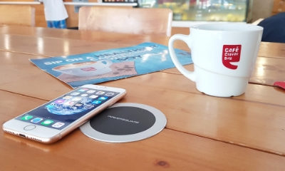 Café Coffee Day installs wireless charging spots at their cafes