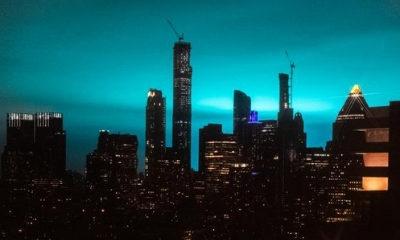 Blue sky at night lights up social media in New York